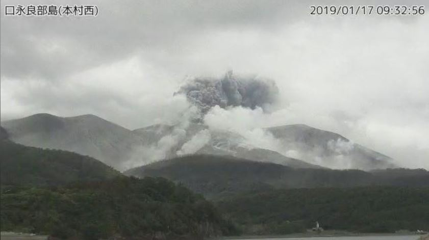 A video grab from the Japan Meteorological Agency's live camera image shows an eruption of Kuchinoerabu Island