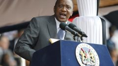 Kenya's President Uhuru Kenyatta addresses the country during the Mashujaa Day celebrations at the Nyayo National Stadium in Nairobi