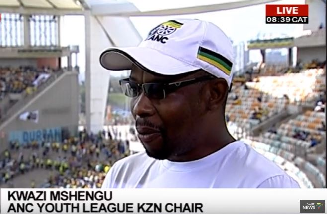 ANCYL chairperson in KwaZulu Natal Kwazi Mshengu at the Moses Mabhida stadium during the ANC's manifesto launch.