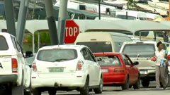 Cars waiting at a border