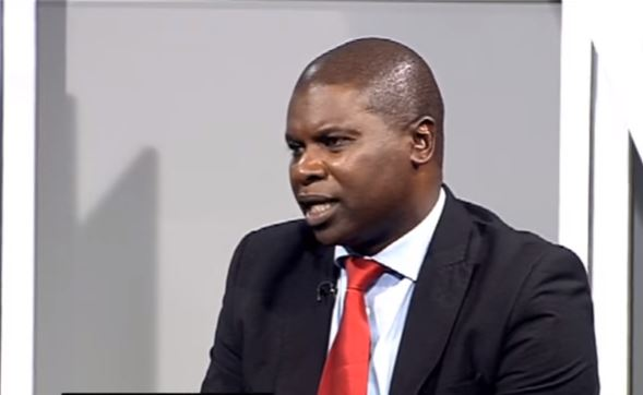 Political analyst Levy Ndou at the SABC studios during an interview.