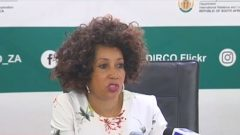 International Relations Minister Lindiwe Sisulu addressing the media on the DRC elections.