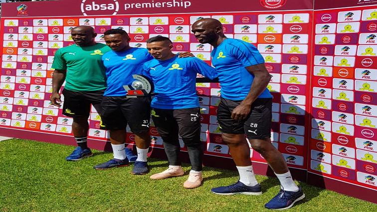Kennedy Mweene, Lebogang Maboe, Gaston Sirino and Anthony Laffor of Mamelodi Sundowns