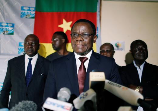 Maurice Kamto, a presidential candidate of Renaissance Movement (MRC), reacts as he holds a news conference at his... Zohra Bensemra January 28, 2019