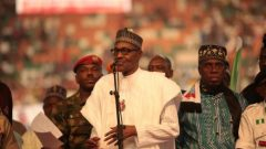Nigeria's President Muhammadu Buhari speaks a launch campaign for his re-election.
