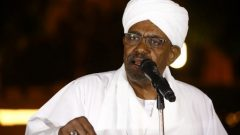 Sudanese President Omar al-Bashir delivers a speech at the presidential palace in the capital Khartoum on January 3, 2019.