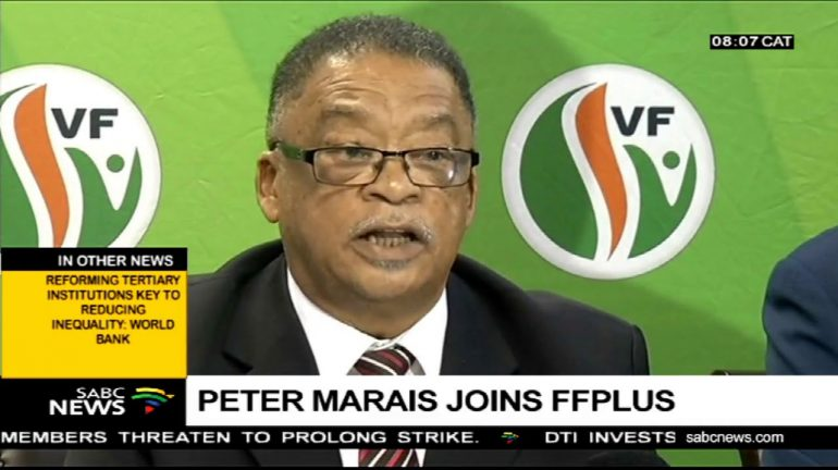 The FF Plus premier candidate Western Cape Peter Marais during an interview.