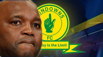 Sundowns logo and coach Pitso Mosimane