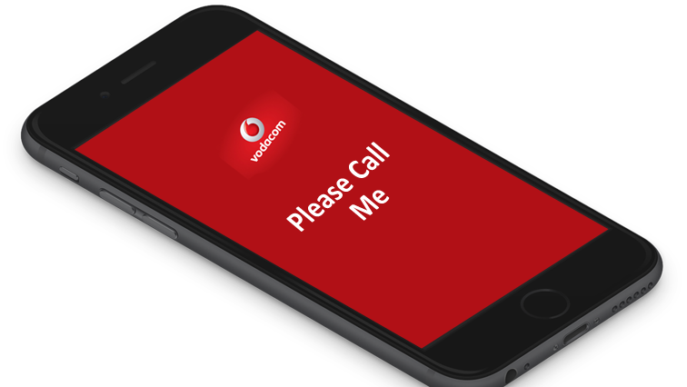 A smart phone with Please call Me printed on the screen underneath the Vodacom logo.