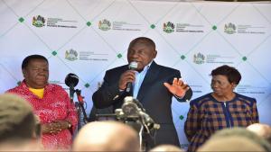 Naledi Pandor, President Cyril Ramaphosa and Angie Motshekga