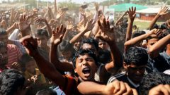 Hundreds of Rohingya refugees shout slogans as they protest against their repatriation at the Unchiprang camp in Teknaf, Bangladesh November 15.