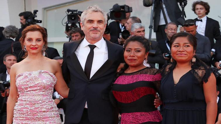 Roma Director Alfonso Cuaron with actors Yalitza Aparicio, Nancy Garcia and Marina de Tavira