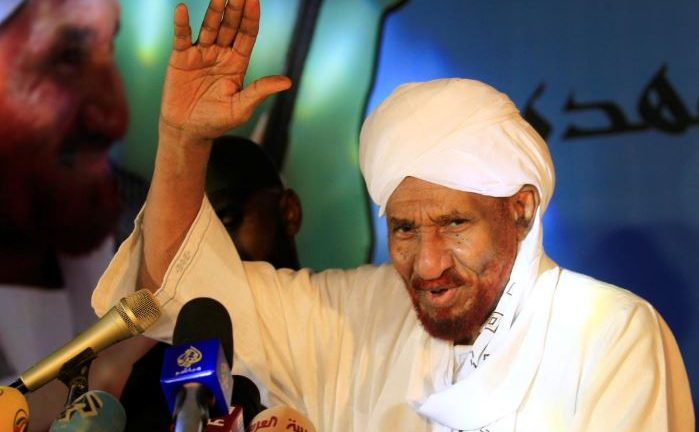 Sudanese leading opposition figure Sadiq al-Mahdi addresses his supporters after he returned from nearly a year in self-imposed exile