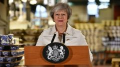 British Prime Minister Theresa May speaks during a visit to the Portmeirion factory in Stoke-on-Trent.