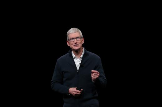 Apple CEO Tim Cook speaks during an Apple launch event in the Brooklyn borough of New York.
