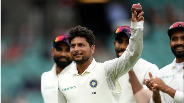 India's Kuldeep Yadav holding a ball