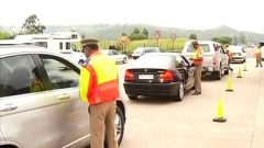 Traffic officials searching cars