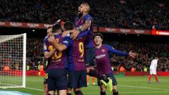Barcelona celebrating victory.