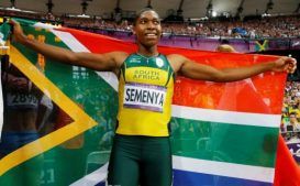 South Africa's Caster Semenya celebrates after she won silver in the women's 800m final at the London.