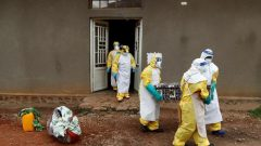 Healthcare workers carry a coffin with a baby, suspected of dying from Ebola, in Beni, North Kivu Province.