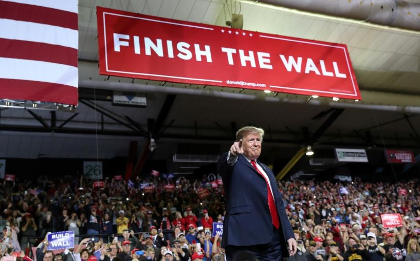 US President Donald Trump speaks during a campaign rally at El Paso County Coliseum in El Paso