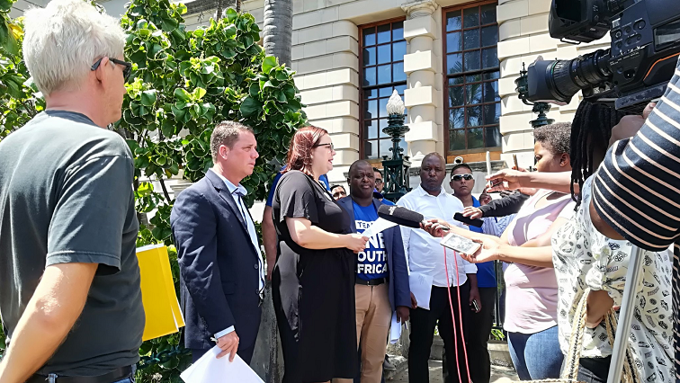 DA addressing journalists outside Durban City Hall