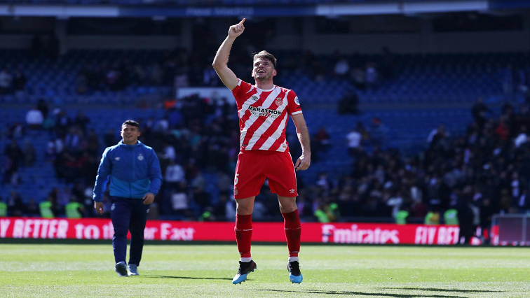 Girona's Pedro Alcala celebrate after the match