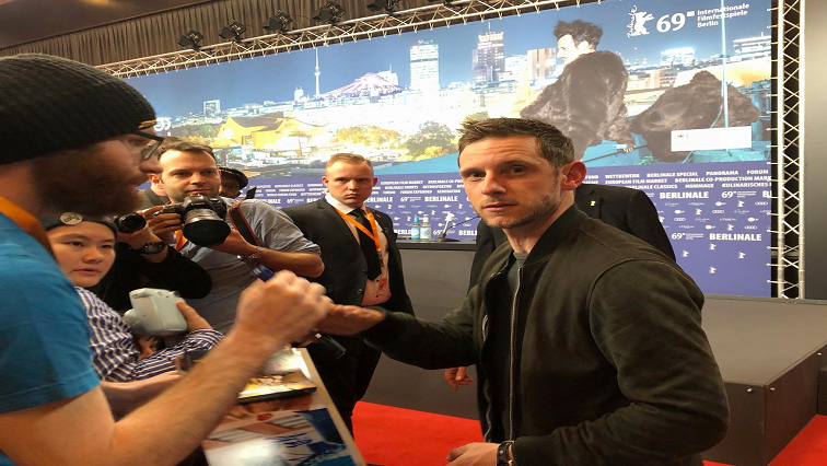 Jamie Bell with reporters