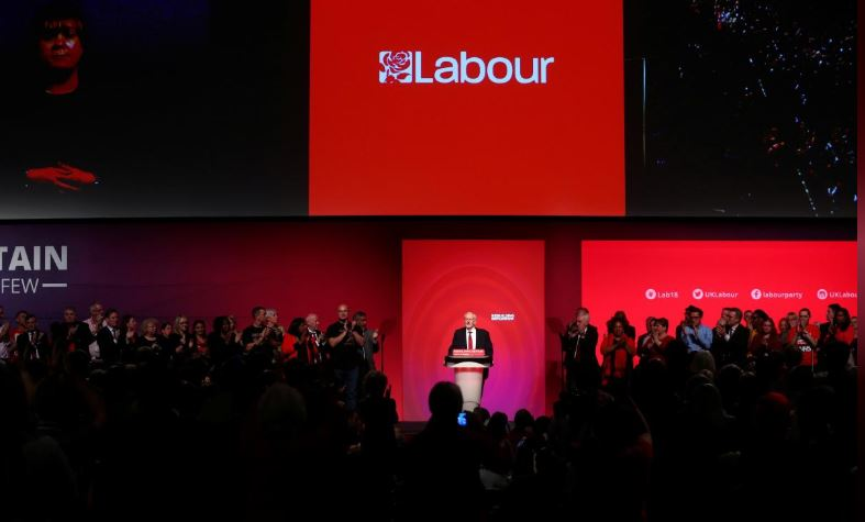 Labour Party leader Jeremy Corbyn delivers his speech at the party's conference in Liverpool.