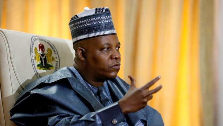 Kashim Shettima, governor of Borno state, gestures during an interview with Reuters in Maiduguri.