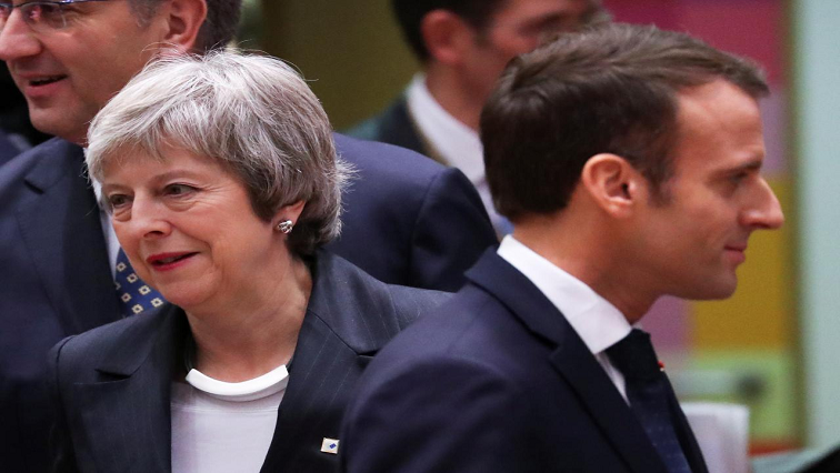 Britain's Prime Minister Theresa May and French President Emmanuel Macron