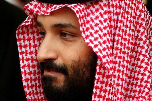 Saudi Arabia's Crown Prince Mohammed bin Salman leaves the Hotel Matignon in Paris.