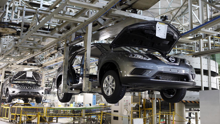 Nissan vehicles on assembly line