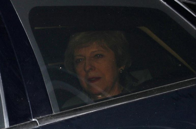 Britain's Prime Minister Theresa May is pictured outside the Houses of Parliament, in London