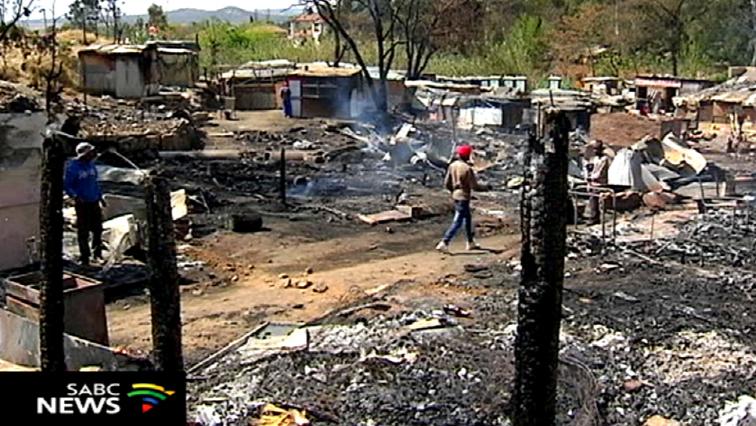 Burnt shacks