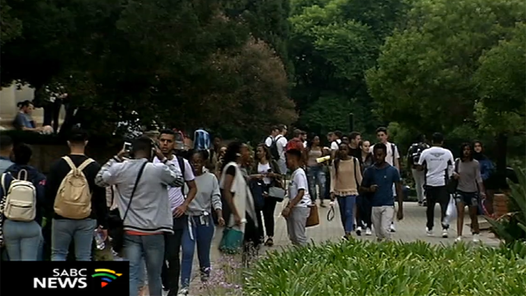 Students protesting over NSFAS allowances and other issues.