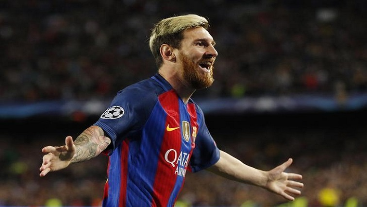 Lionel Messi celebrates after penalty.