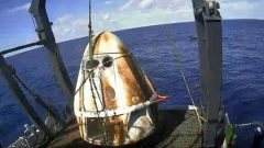 SpaceX's Crew Dragon spacecraft safely aboard the company's recovery vessel.