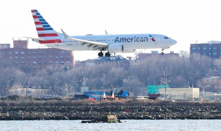 An American Airlines Boeing 737 Max 8, on a flight from Miami to New York City, comes in for landing at LaGuardia Airport in New York.
