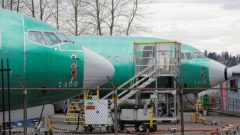 Two Boeing 737 MAX 8 aircraft are parked at a Boeing production facility in Renton, Washington.