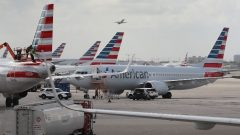 American Airlines Boeing 737 Max 8 is seen parked .