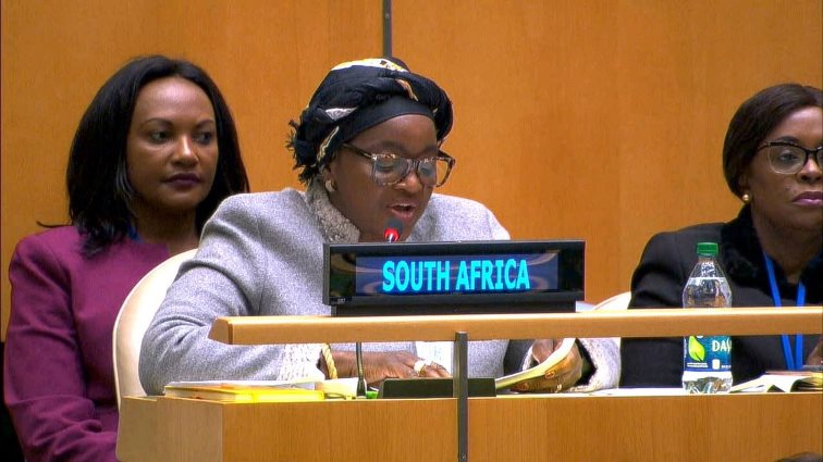 Bathabile Dlamini at the Commission on the Status of Women in New York
