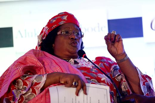 Former Malawian President Joyce Banda speaks at a conference on women in development programmes in Lagos.