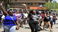 Women protesting in Kenya.