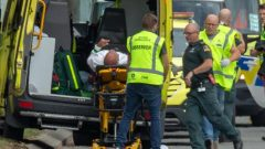 An injured person is loaded into an ambulance following a shooting at the Al Noor mosque in Christchurch, New Zealand.