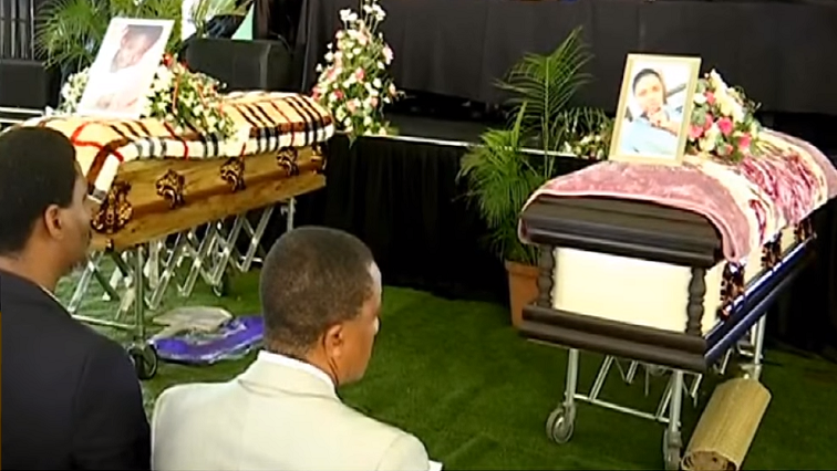 Coffins of two taxi accident victims