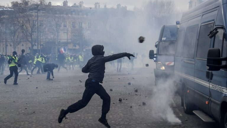 Paris residents touching and looting shops.