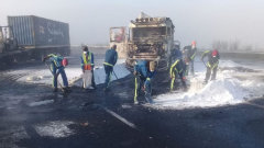 Clean-up underway after protesters set seven trucks alight.