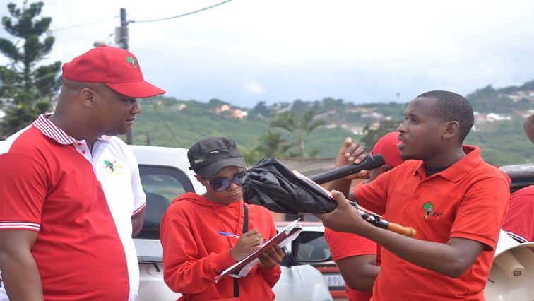 Marshall Dlamini with Eff supporters