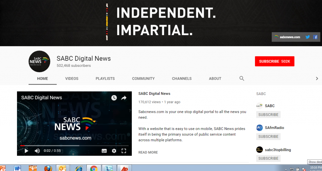 youtube 1024x545 - SABC News YouTube channel wins silver at awards